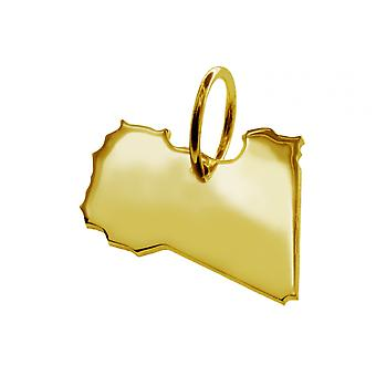 Trailer map Libya pendants in massive 585 gold