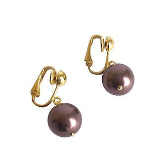Pendientes perlas de tahiti Brown DONNIE pendientes de perlas oro plateado