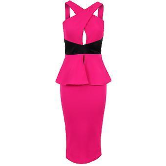 Damen-Criss Cross vorne PVC-Streifen Peplum Damen Knie-Länge Bodycon Kleid