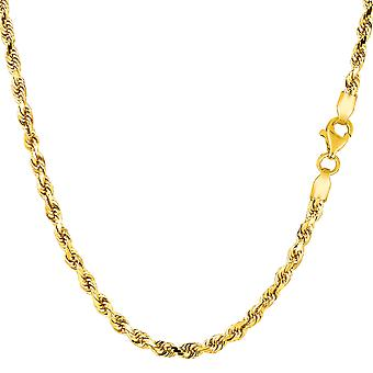 14k Yellow Gold Solid Diamond Cut Solid Rope Chain Necklace, 2.75mm