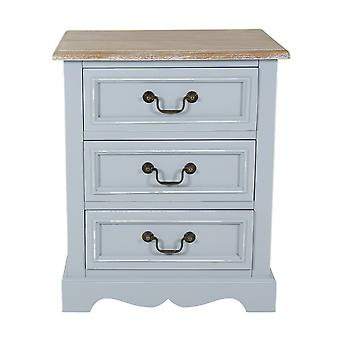 Charles Bentley Home Grey Loxley Country Vintage Solid Wood 3 Drawer Bedside Table Cabinet - Matching Items Available