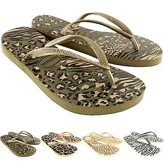 Womens Havaianas Slim Animals Beach Flip Flops Summer Slip On Sandals