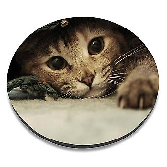 i-Tronixs - Cat Printed Design Non-Slip Round Mouse Mat for Office / Home / Gaming - 17