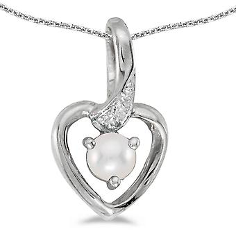 10k White Gold Freshwater Cultured Pearl And Diamond Heart Pendant w/ 18