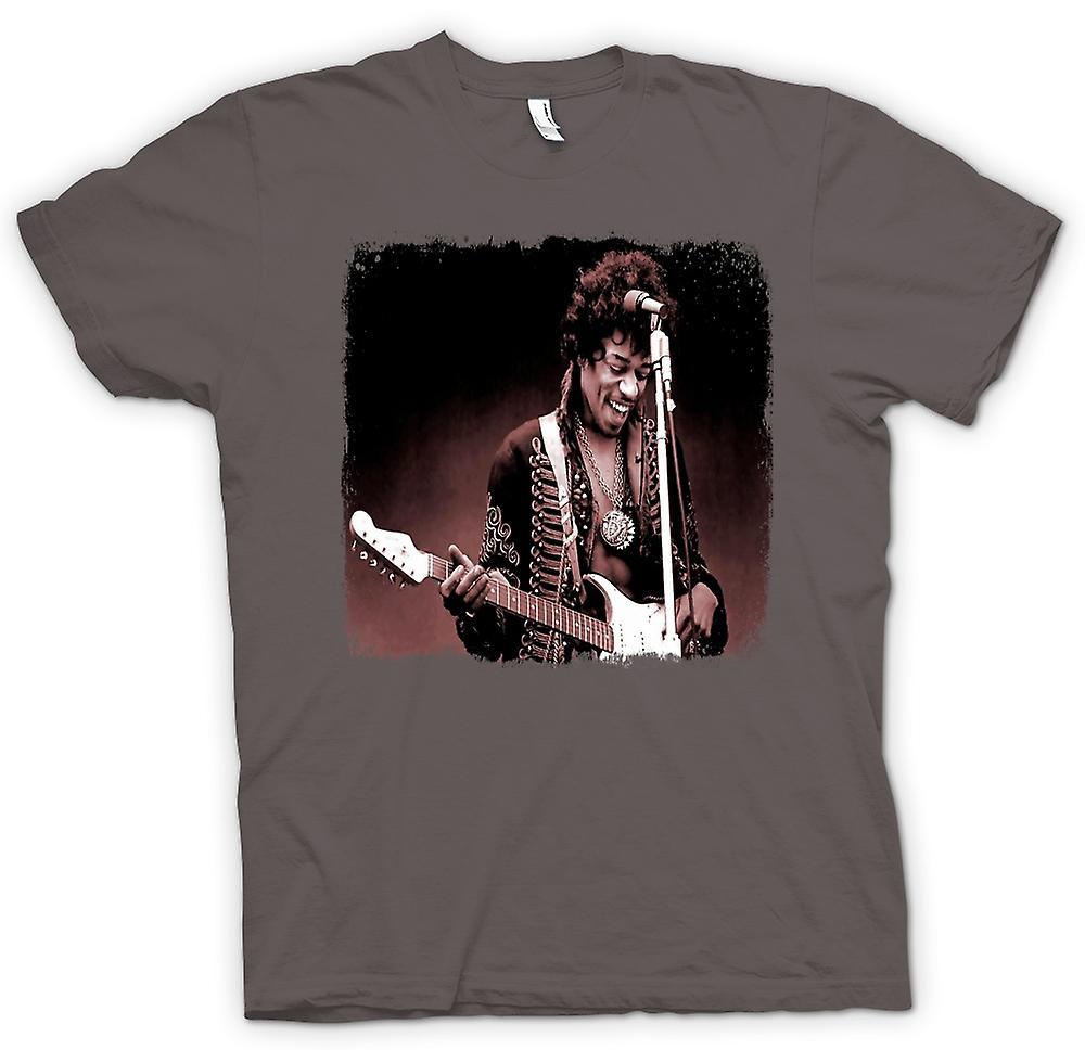 Herr T-shirt - Jimi Hendrix - Sepia - porträtt