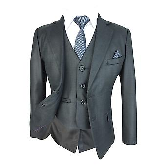 Gutter Slim fit mørk grå komplett dress sett