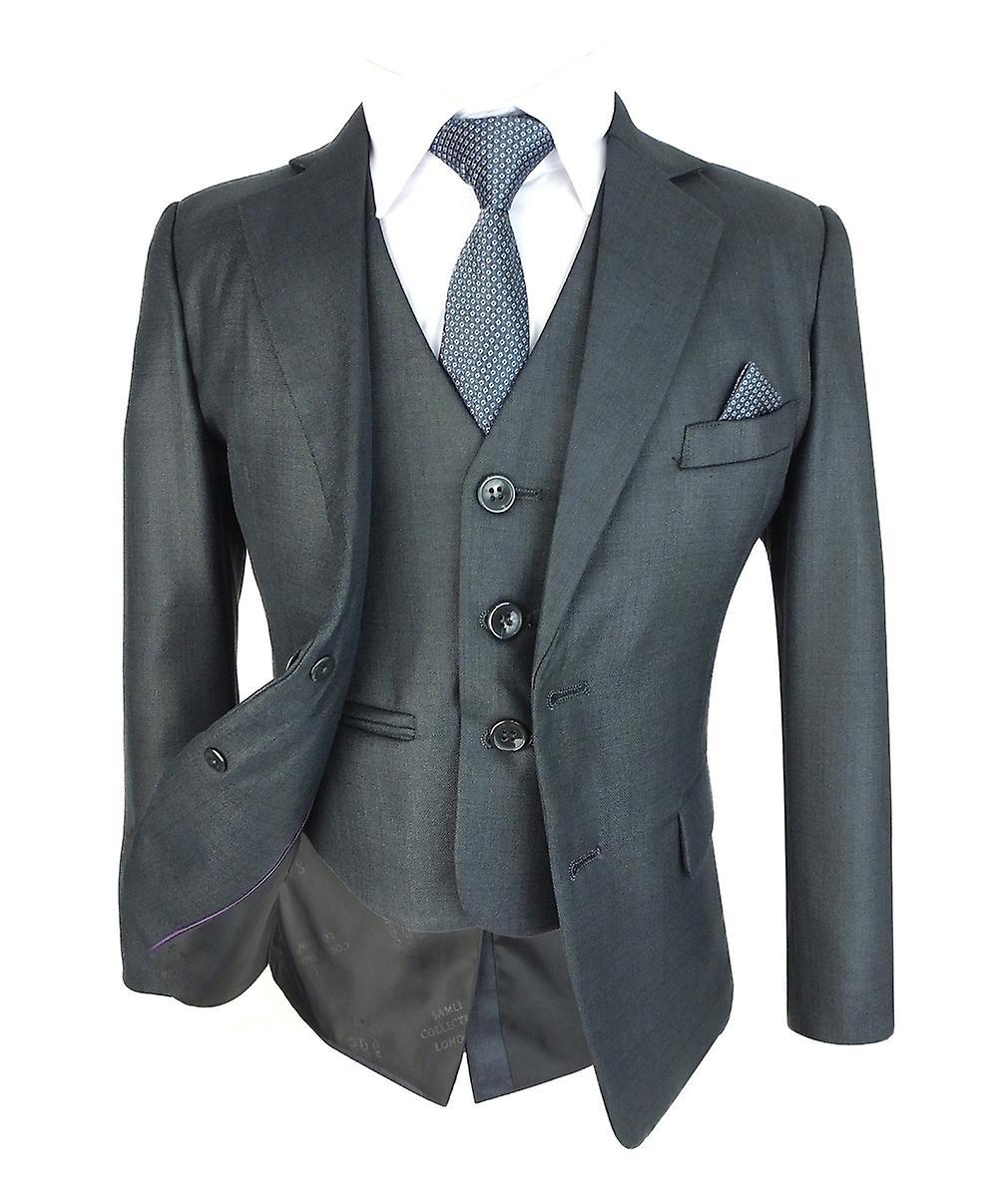 garçons Slim fit Dark gris Complete Suit Set