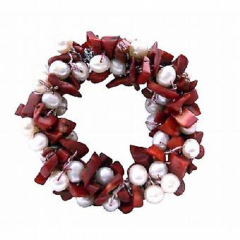 Wedding Brooch Pin Handcrafted Freshwater Pearls w/ Coral Nugget Chip