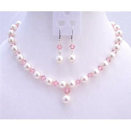 Rose Pink Swarovski Crystals White Pearls Fashionable Jewerlry