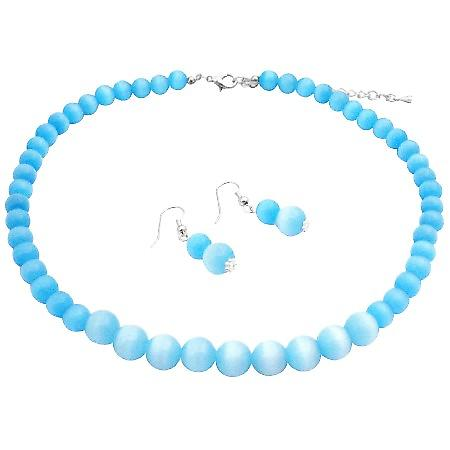 Sterling Silver Turquoise Cat Eye 8mm & 12mm Necklace & Earrings Set