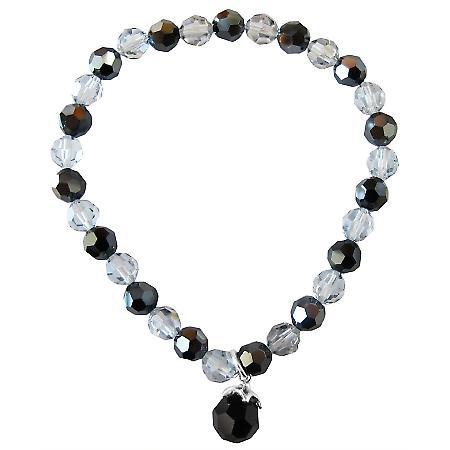 Swarovski Crystals Jet & Shadow 6mm Round Bracelet Round Jet Dangling