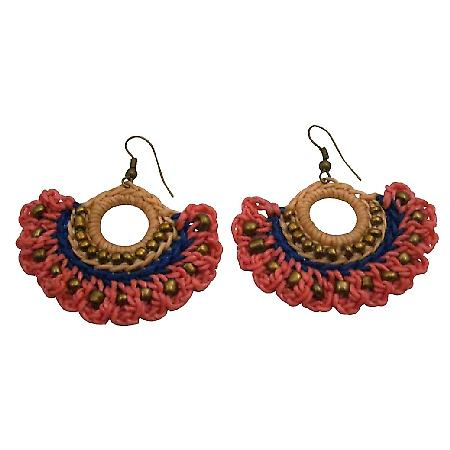 Hippie Chic Crochet Fan Shaped Earring Combo Pink Blue Champagne Color