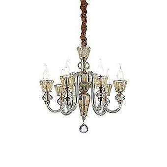 Ideale Lux - Strauss Rose Gold Finish en glas zes lichte kroonluchter IDL140605