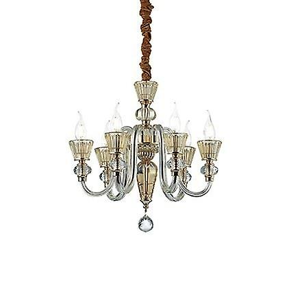 Ideal Lux - Strauss Rose or Finish And Glass Six lumière Chandelier IDL140605