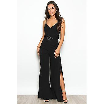 Black Split Leg Belted Jumpsuit