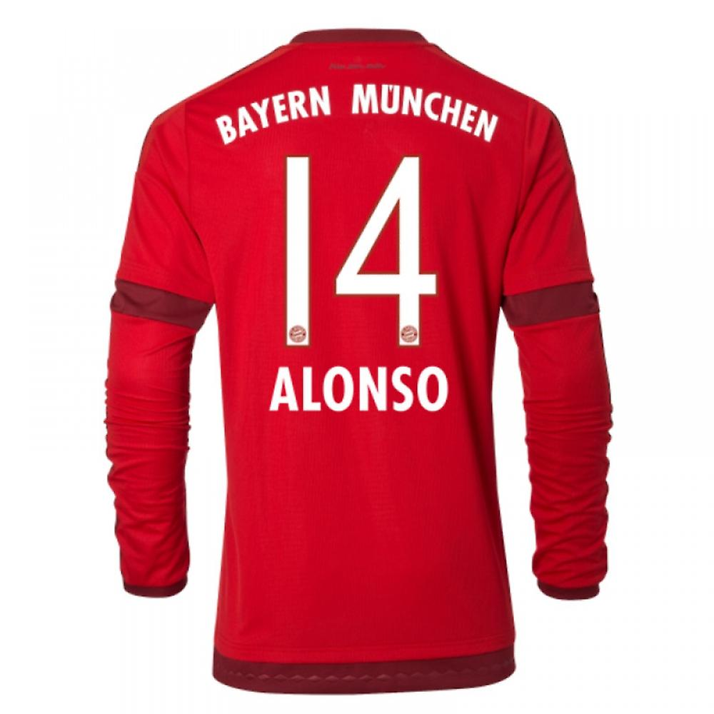 2015-16 Bayern Munich Long Sleeve Home Shirt (Alonso 14)