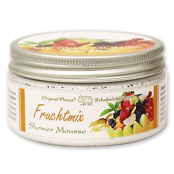 Florex kroppen av dusch mousse frukt mix med fårmjölk mjölk och näringsgivande oljor 200 ml