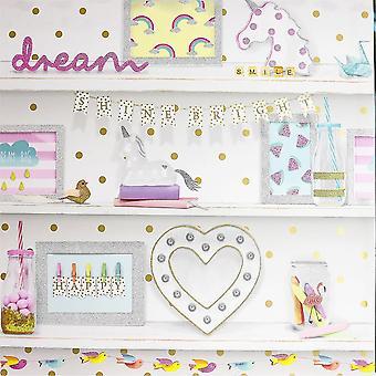 Mädchen Leben Glitter Bücherregal Tapete Polka Dot Heart Einhorn Bird Pink White