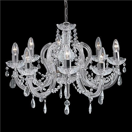 Searchlight 399-8 Marie Therese 8 Arm Crystal Glass Chandelier In Chrome