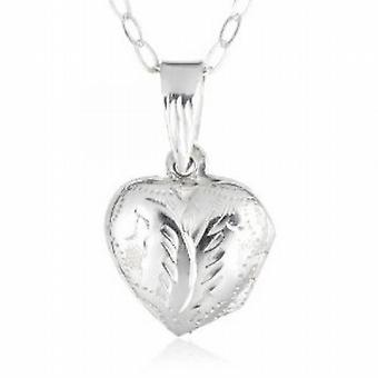 Jo For Girls Sterling Silver My First Locket Puffed Heart Pendant on 14