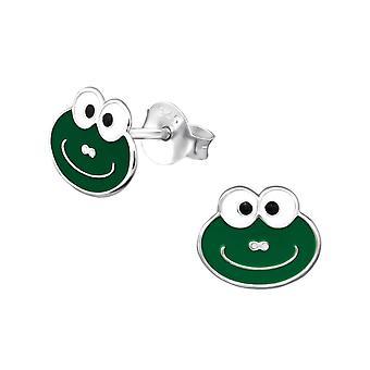 Children's Sterling Silver Smiley Frog Stud Earrings