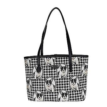French bulldog shoulder tote bag by signare tapestry / coll-fren