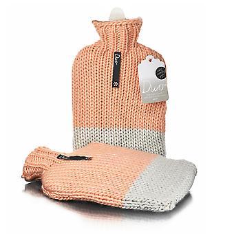 Peach Designer Chunky Hand Knit 2L Hot Water Bottle