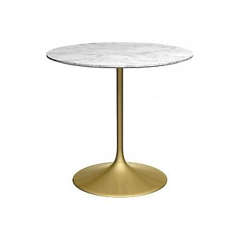 Gillmore Space Pedestal Medium Dining Table White Marble And Brass