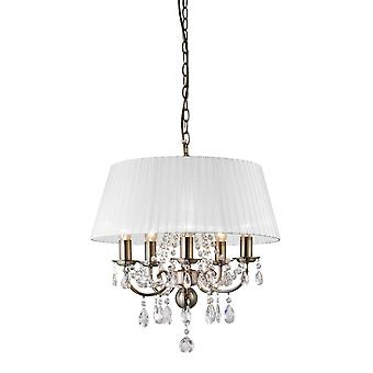 Diyas IL30047 Olivia Pendant With White Shade 5 Light Antique Brass/Crystal
