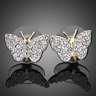18K Gold Plated Stellux Austrian Crystals Butterfly Wings Studs, 1.2cm