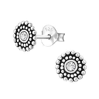 Round - 925 Sterling Silver Crystal Ear Studs - W29351X