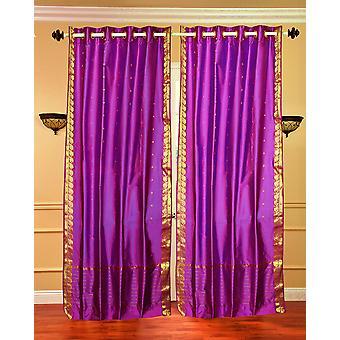 Anneau rouge violet haut Sari pure Rideau / Drape / panneau - pièce