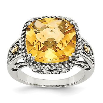 925 Sterling Silver With 14k Citrine Ring - Ring Size: 6 to 8