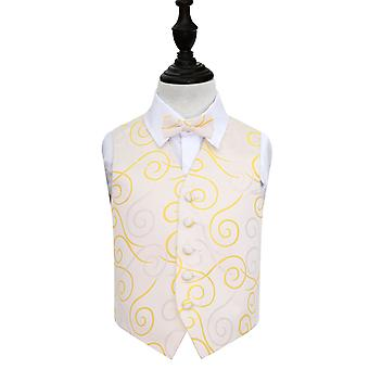 Boy's Gold Scroll Patterned Wedding Waistcoat & Bow Tie Set