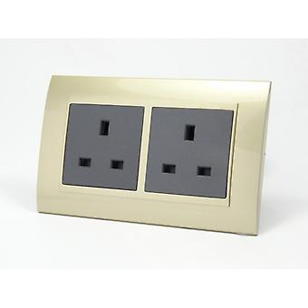 I LumoS AS Luxury Gold Plastic Arc Double Unswitched Wall Plug 13A UK Sockets