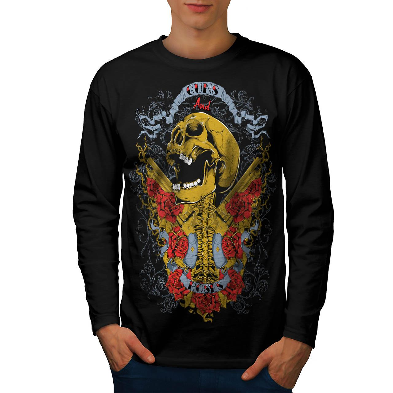 Guns And Roses Skull Music Hero Men Black Long Sleeve T-shirt | Wellcoda