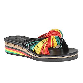 Chloé women low wedge slippers in multicolor leather