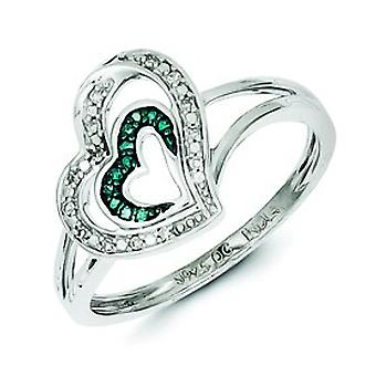 Sterling Silver Blue and White Diamond Heart Ring - Ring Size: 6 to 8