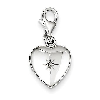 Sterling Silver and Diamond Polished Lobster Clasp 12mm Heart Locket - .010 dwt