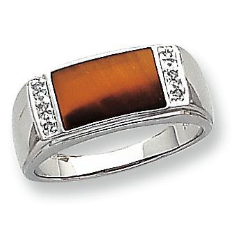 14k wit goud biljoen gepolijst Open back niet engraveable Tigers Eye en Mens diamantring - Size 10