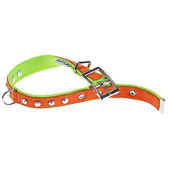 Dual Diamonds Cf20/43 Nylon Collar Orange/green 20mm X35-43cm