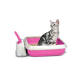 Duo Cat Litter Tray With Scoop & Holder Pink 50x40x14.5cm