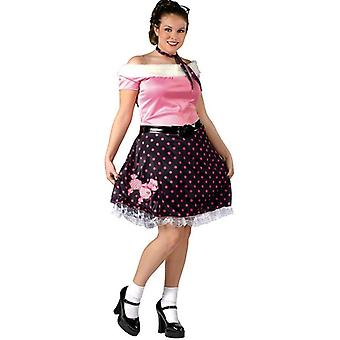 50s Poodle Pink Dress Grease Rock Women Costume Plus