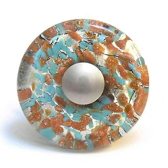 Murano Hand Blown Glass Round Turquoise & Copper Cupboard Knob