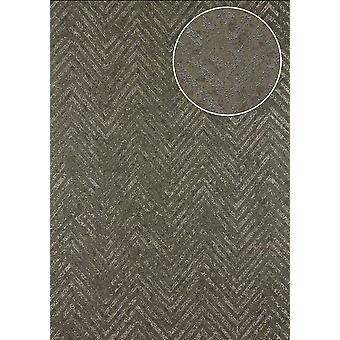 Atlas 24C-5055-5 non-woven wallpaper wallpaper stripes structured 7,035 m2 with Chevron pattern and metallic accents Brown khaki-grey bronze