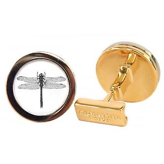 Tyler and Tyler Dragon Fly Capsule Cufflinks - Gold