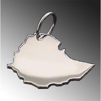 Trailer map Ethiopia pendant in solid 925 Silver