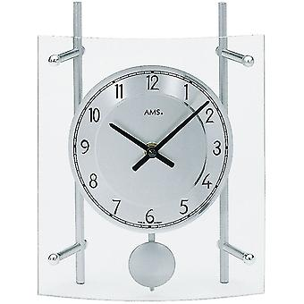 Quartz clock table clock with pendulum quartz mineral crystal silver painted metal rods