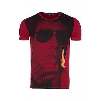 RUSTY NEAL smoke shirt men's T-Shirt red with illustration
