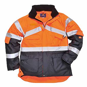 sUw - Hi-Vis Outdoor Workwear 2-Tone Breathable Jacket With Pack Away Hood